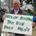 """Tired of holding this sign since the 1960's."""