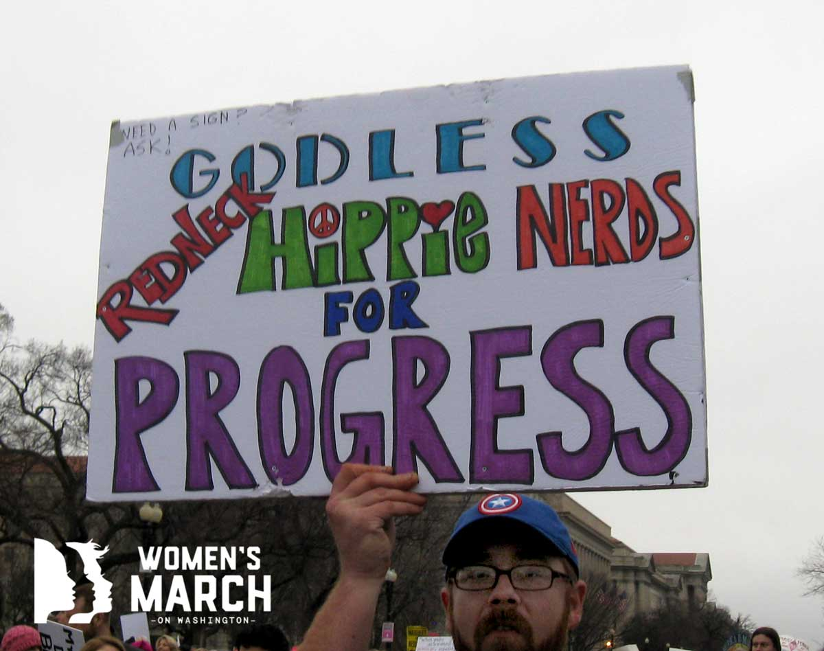 """Godless Redneck Hippie Nerds for Progress"""