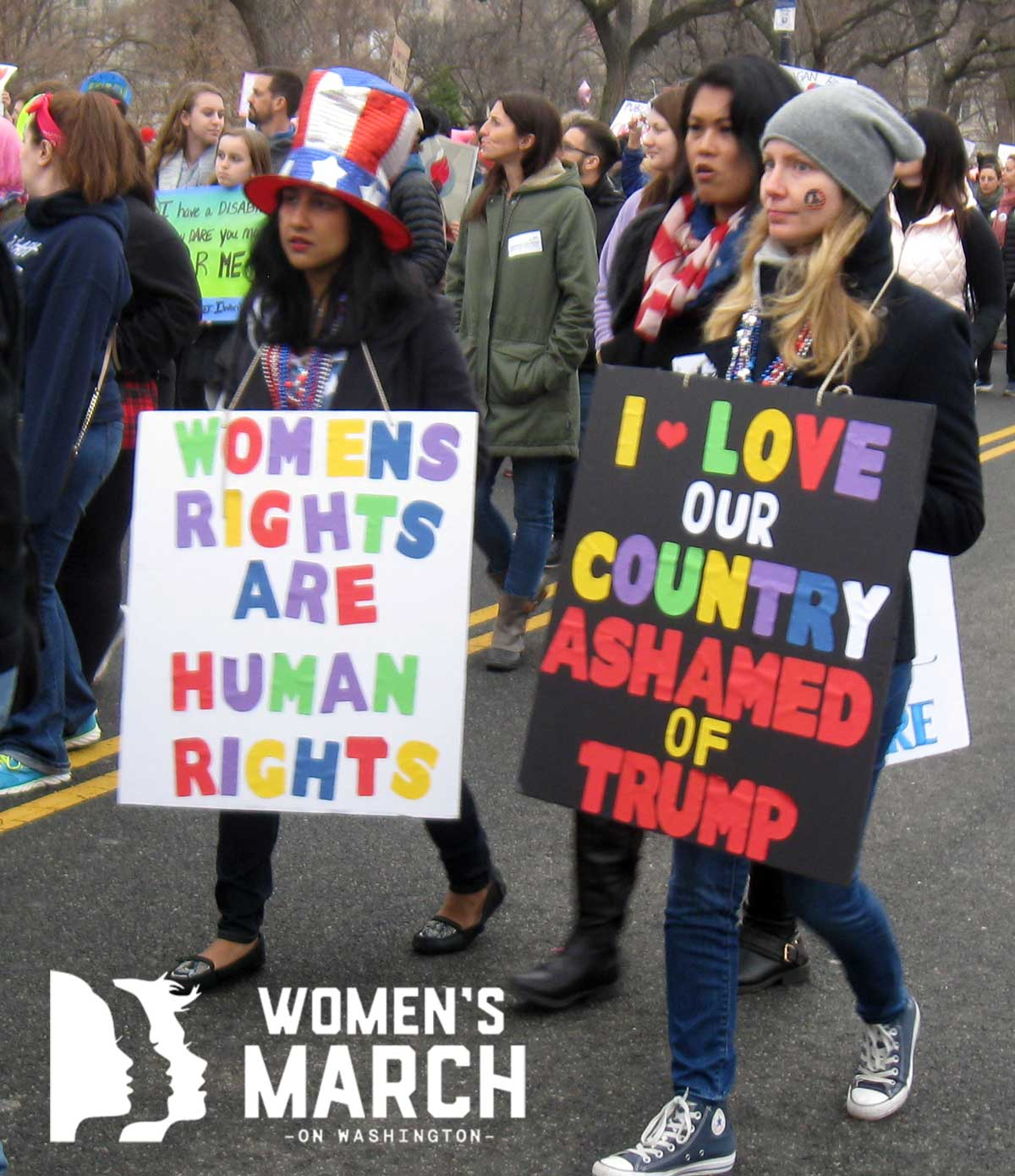 """""""Women's rights are human rights."""" """"I love our country. Ashamed of Trump."""""""