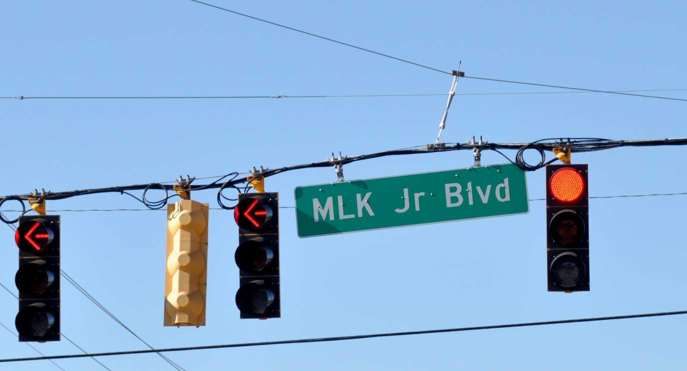 Street sign for MLK Jr Blvd