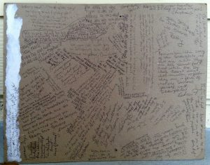 Sign with dozens of handwritten messages.