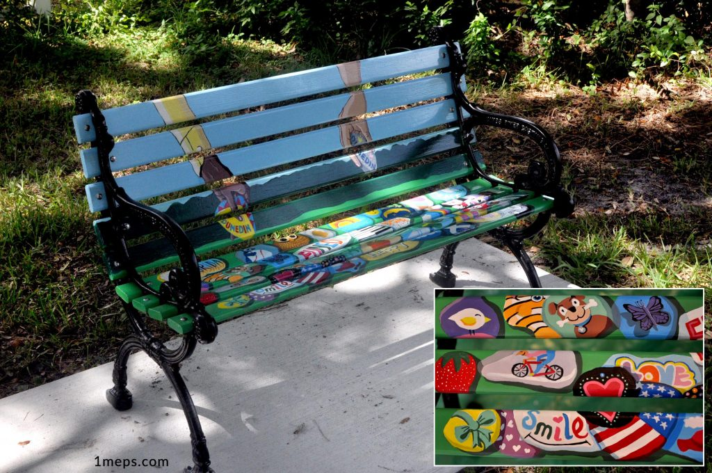 Painted park bench on the Pinellas Trail