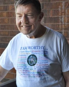 Hank in his I Am Worthy t-shirt