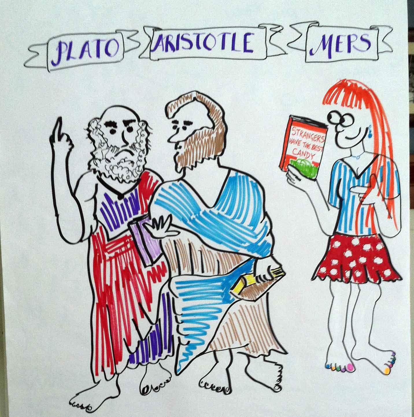 Cartoon of Plato, Aristotle, and Meps