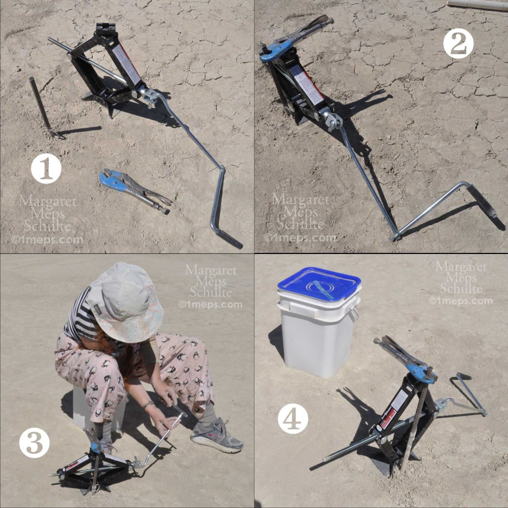 4-part photo showing how to jack rebar out of the playa
