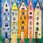 Town Houses, gouache on paper, 2016